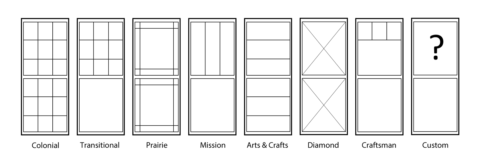 Window styles for double hung windows:Colonial, Traditional, Prairie, Mission, Arts & Crafts, Diamond, Craftsman, Custom
