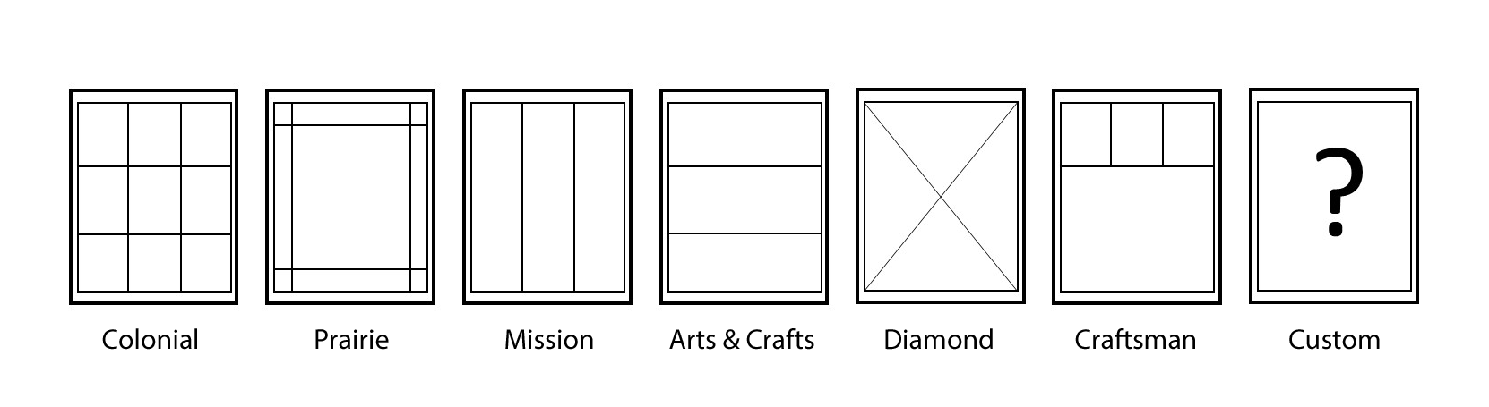 Windows grid styles: Colonial, Prairie, Mission, Arts & Crafts, Diamond, Craftsman, Custom
